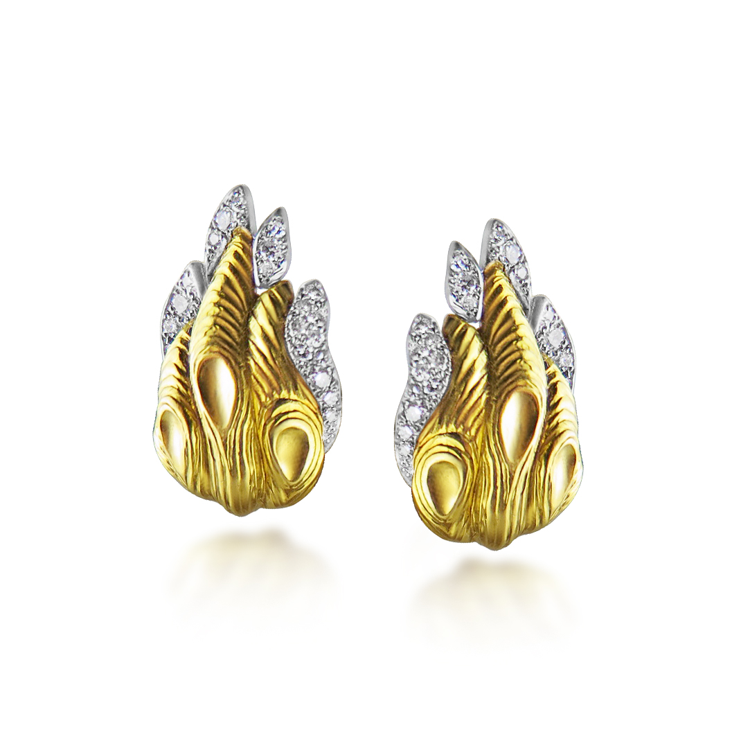 GOLD AND DIAMOND EARCLIPS BY GRIMA