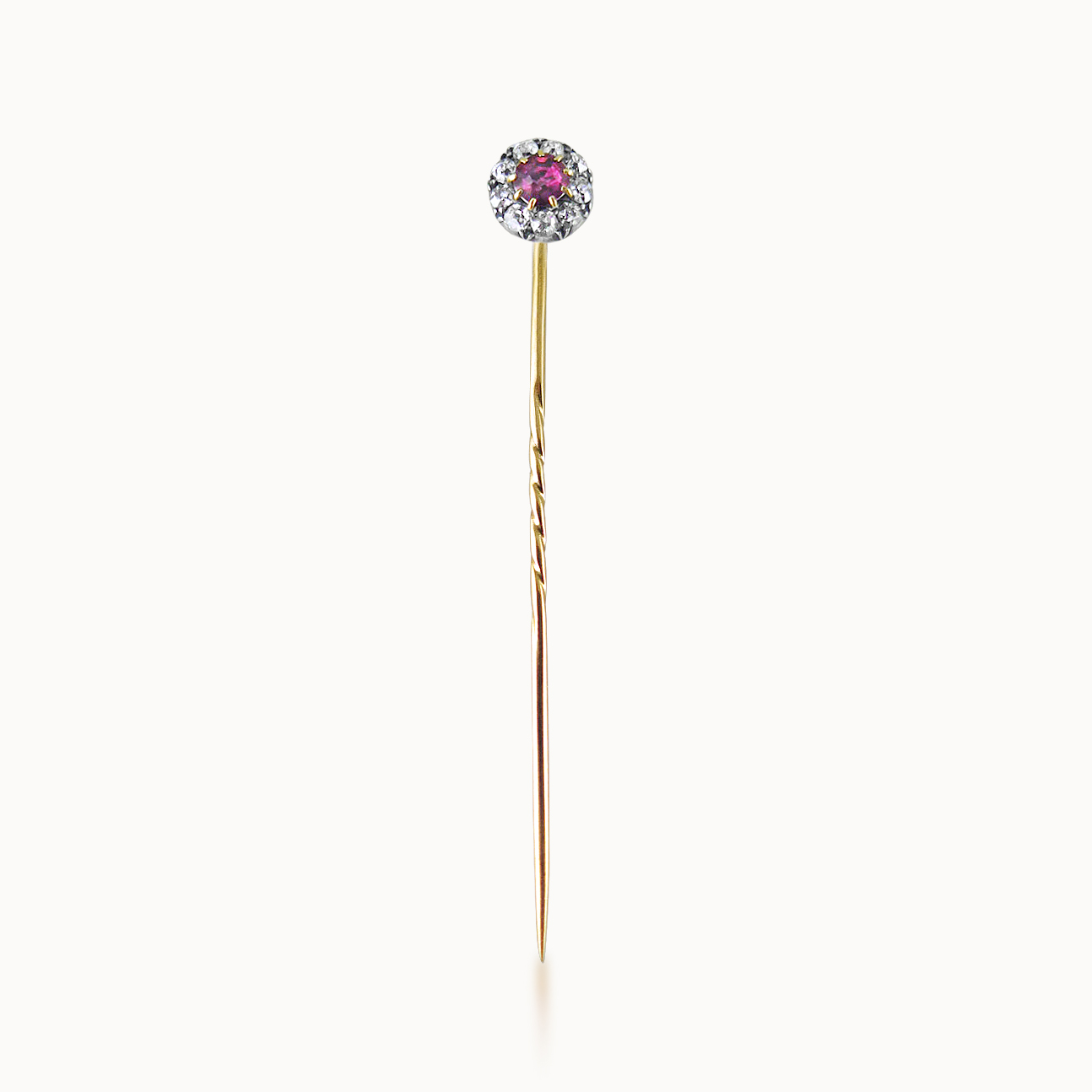 RUBY AND DIAMOND STICKPIN