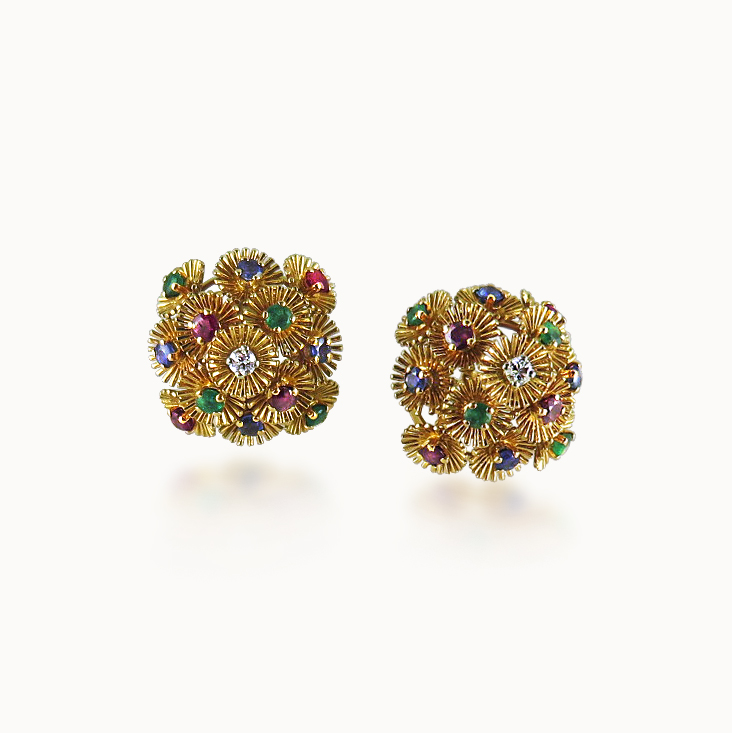 GOLD AND GEM-SET BOMBE EARCLIPS