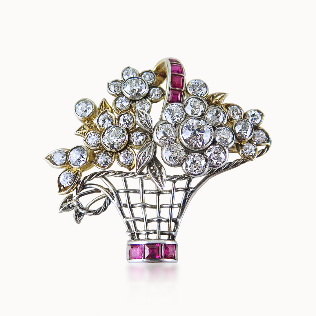RUBY AND DIAMOND BASKET-OF-FLOWERS BROOCH