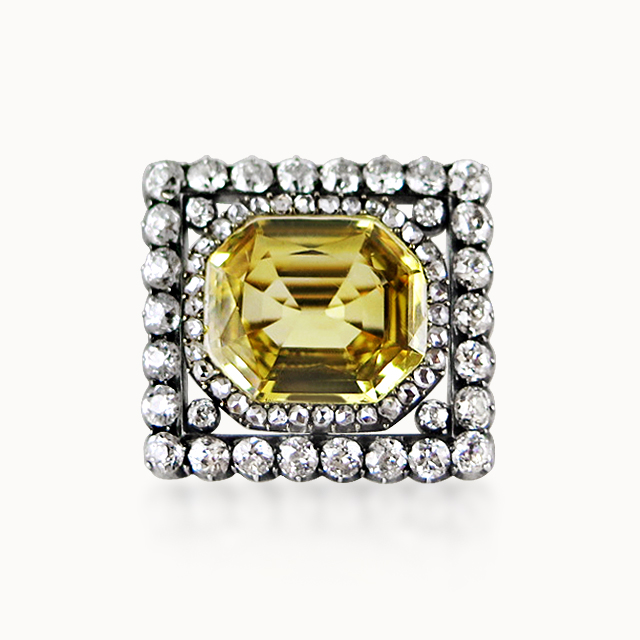 YELLOW SAPPHIRE AND DIAMOND BROOCH