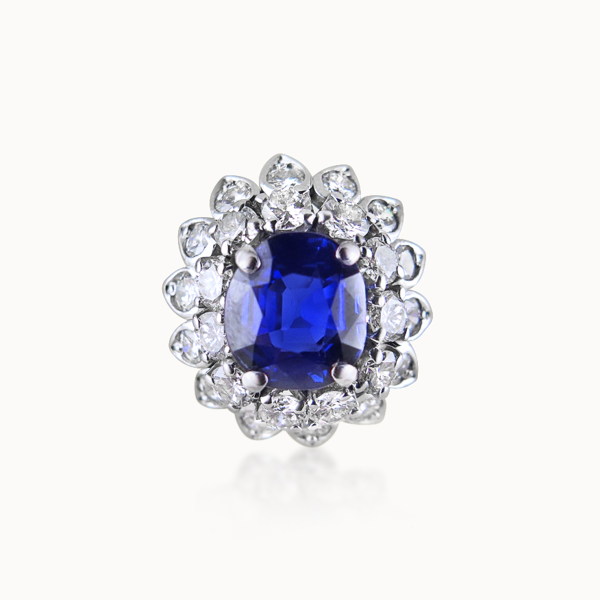 SAPPHIRE AND DIAMOND DAISY CLUSTER RING