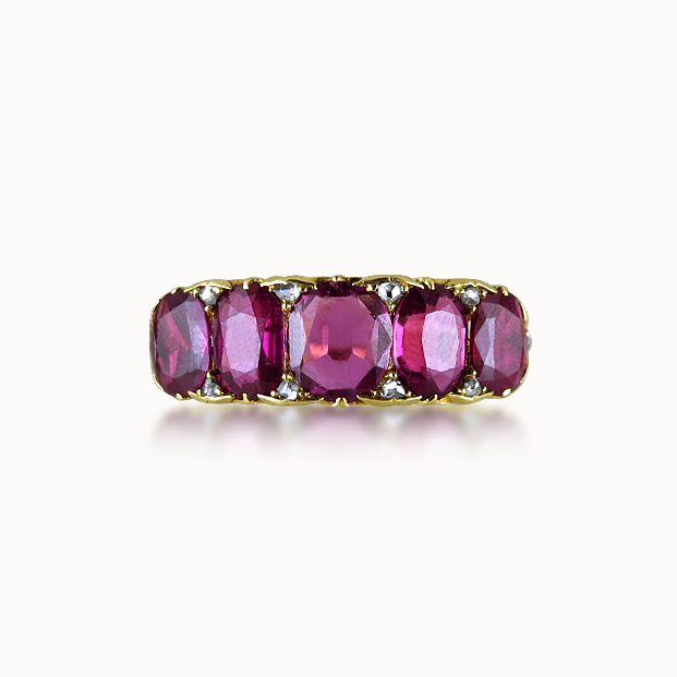 VICTORIAN FIVE-STONE RUBY RING