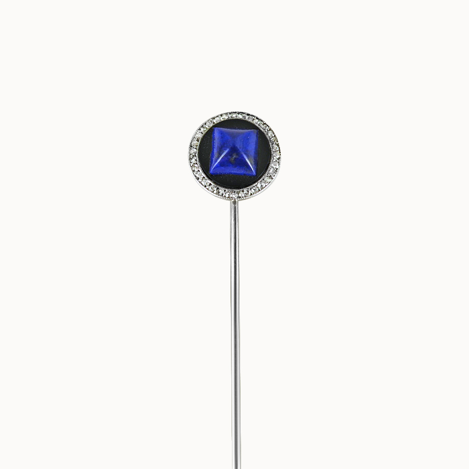 LAPIS LAZULI ONYX AND DIAMOND STICKPIN BY CARTIER