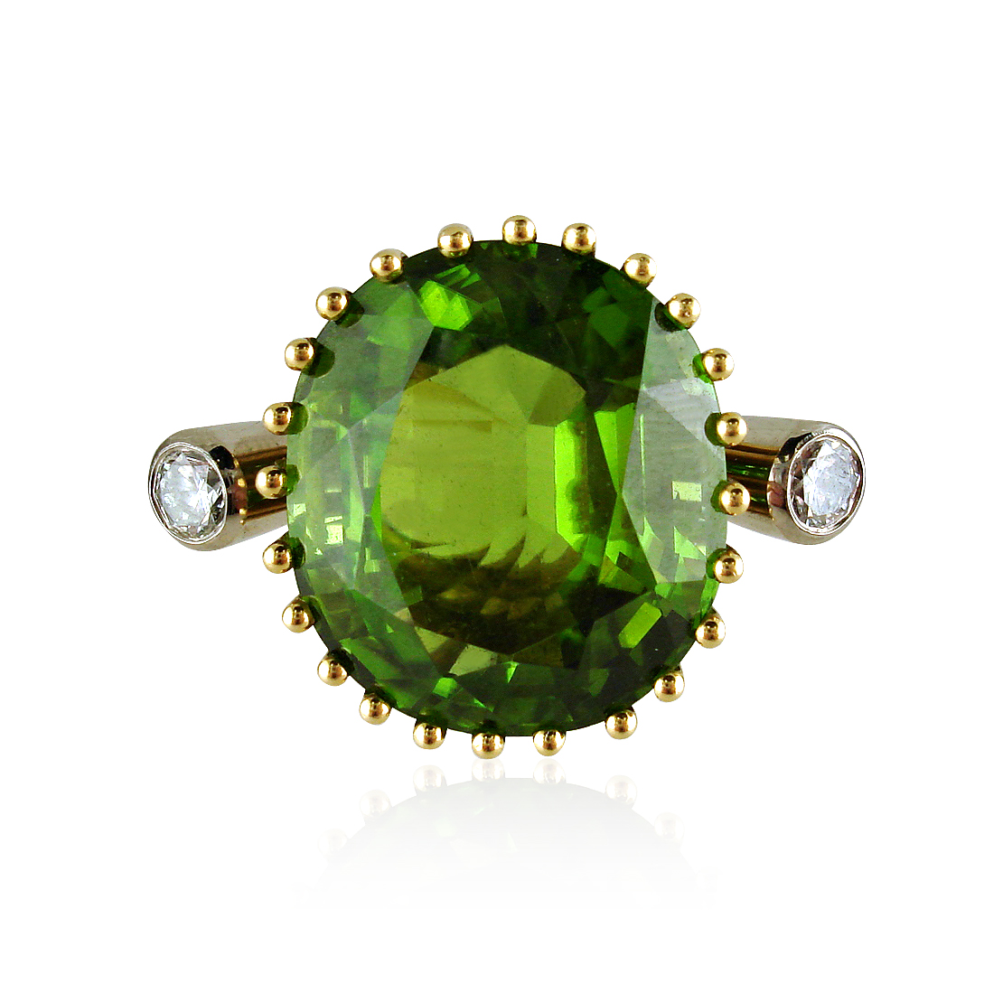 PERIDOT AND DIAMOND COCKTAIL RING