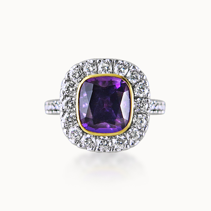 AMETHYST AND DIAMOND CLUSTER RING