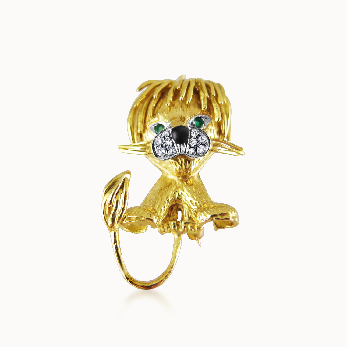 'LION ÉBOURIFFÉ' BROOCH BY VAN CLEEF & ARPELS