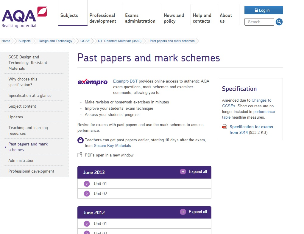 Click here - you will be taken to the AQA past papers page - REMEMBER to read the examiners report to see where people went wrong and right in the Controlled Assessment and the Exam.
