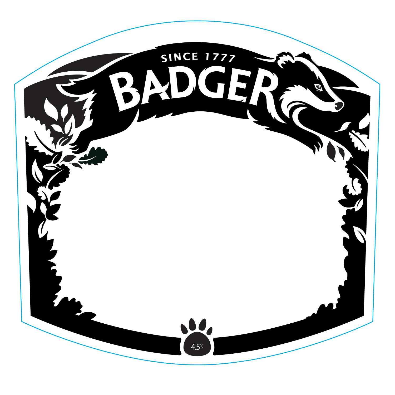 Lettering, finished badger illustration and leaf frame