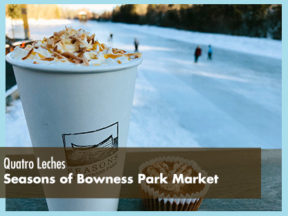 Quatro Leches Hot Chocolate and the view of the lagoon from the patio