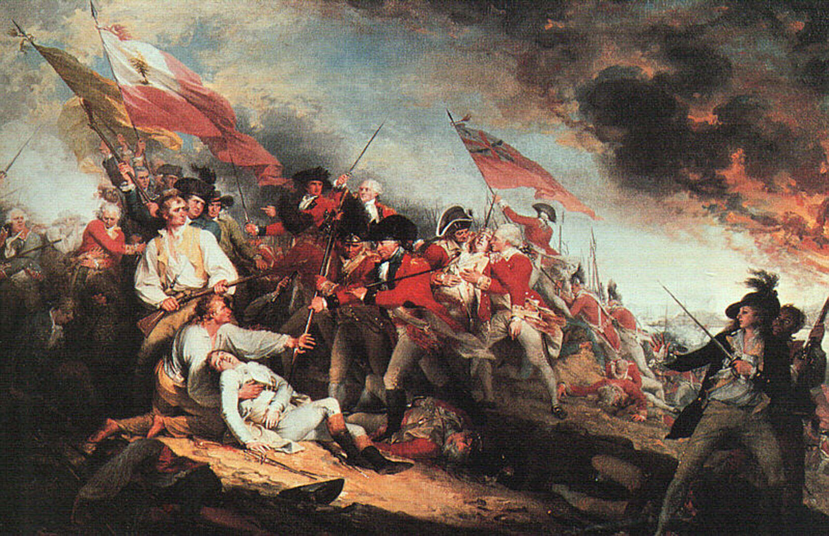 """The Death of General Warren at the Battle of Bunker's Hill,"" by John Trumbull. Note the Pine Tree Flag flying at the forefront. Trumbull witnessed the battle."