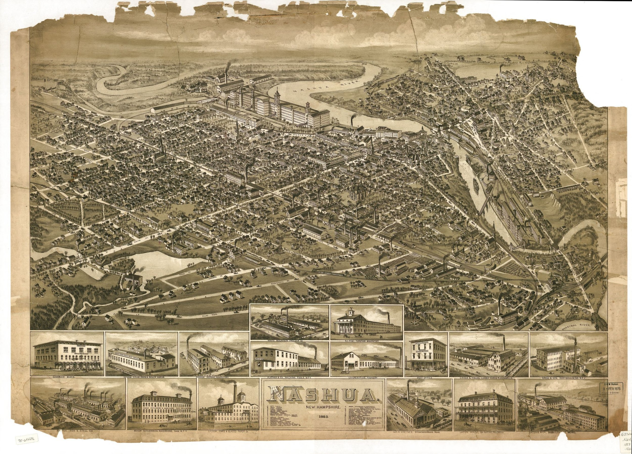 "Artwork: ""Nashua New Hampshire, 1883"" from the archives at the Library of Congress"