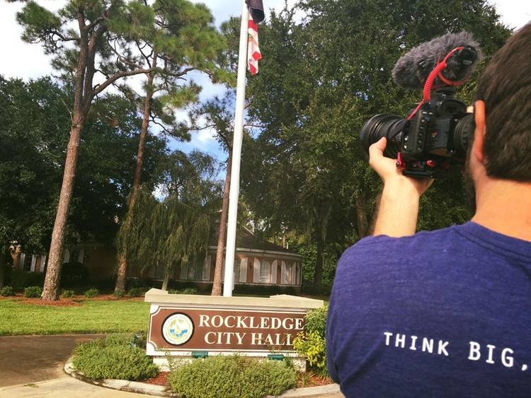 Filming tiny house history in the making in Rockledge, FL