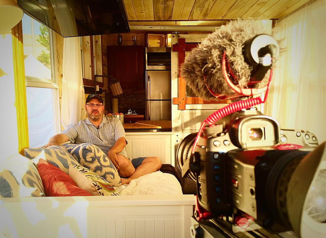 a look inside eco Cabins bunkaboose tiny house model during interview with CEO, Darin zaruba
