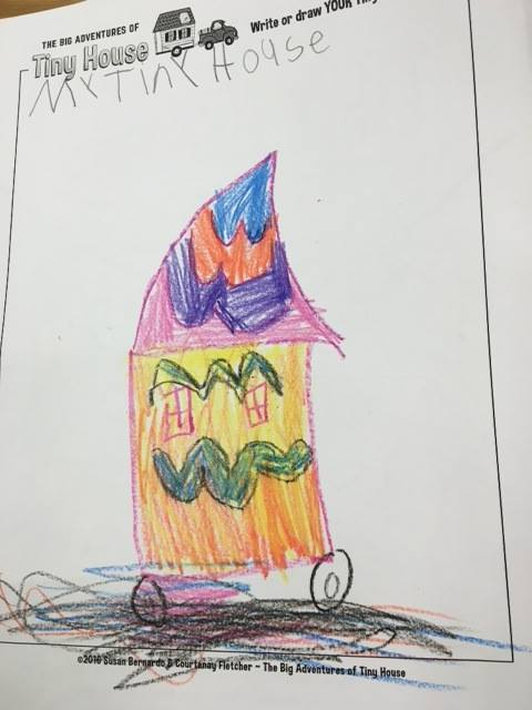 """A kiddo's cute drawing of their dream tiny house on """"The Big Adventures of Tiny House"""" coloring sheet"""