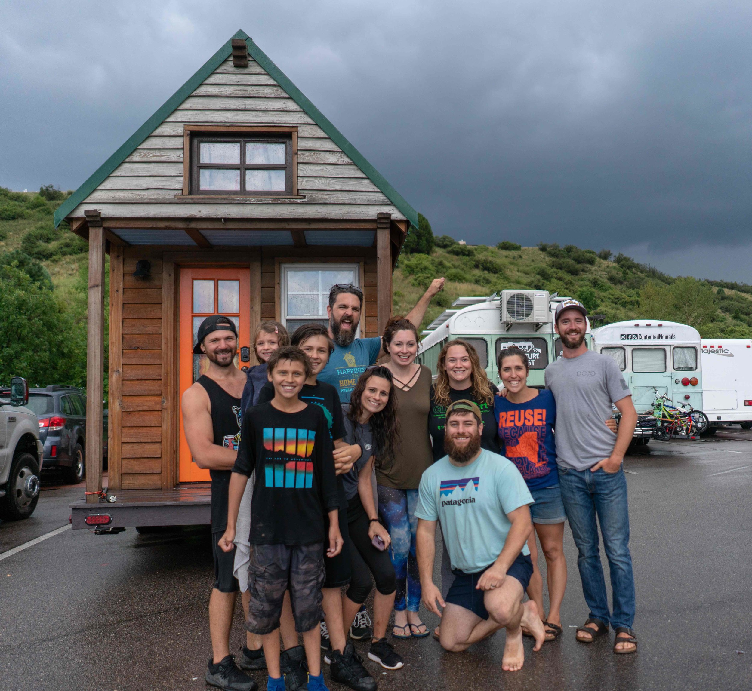 We met Jimmy & Tara and their kids, new full-time RVers, while parked at the Bass Pro Shop with some of our skoolie friends. This was taken after surviving a rain/hail storm at the Garden of the Gods Park with the Contented Nomads bus family and the Adventure or Bust couple.