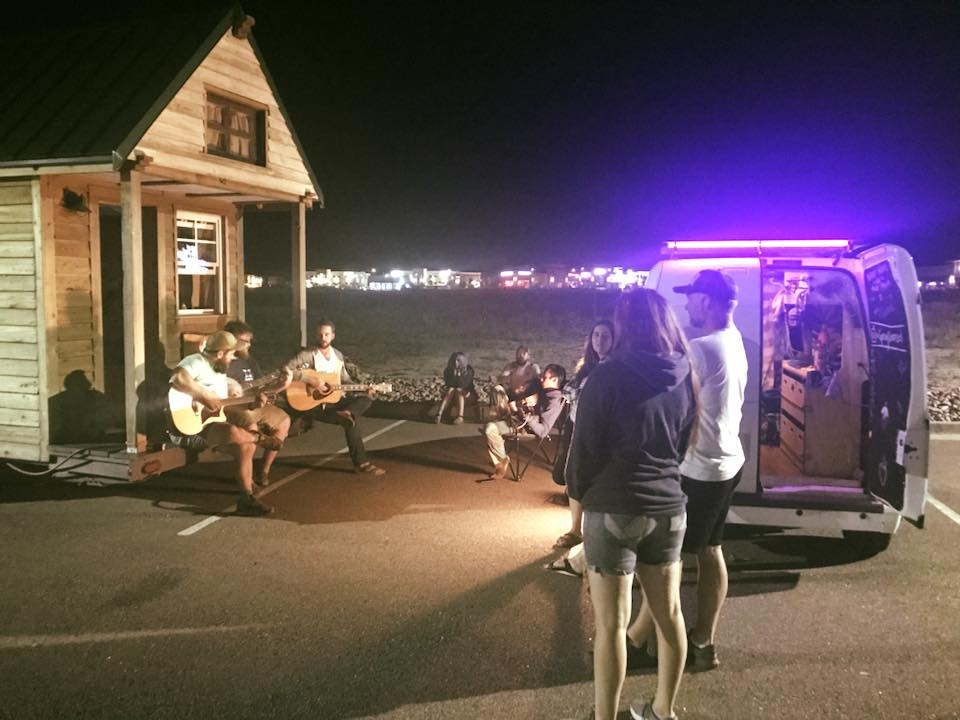 After-hours hangs with the DIY tiny home crew