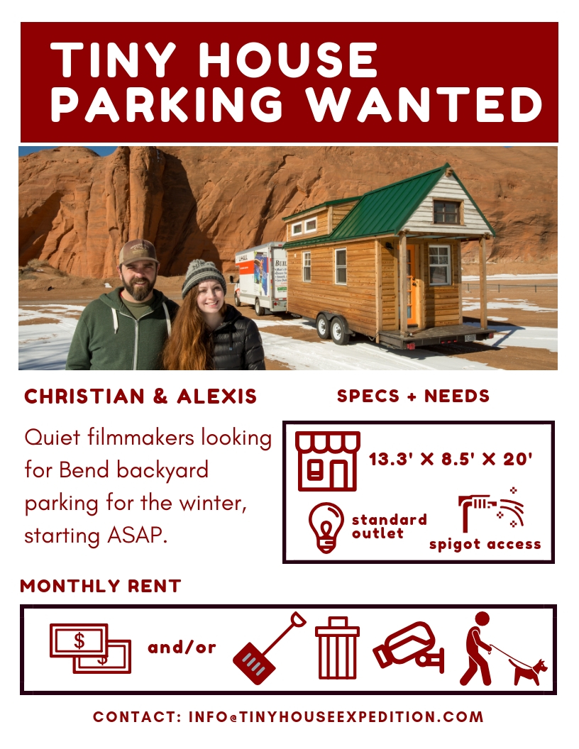 Tiny House Parking Wanted Flyer