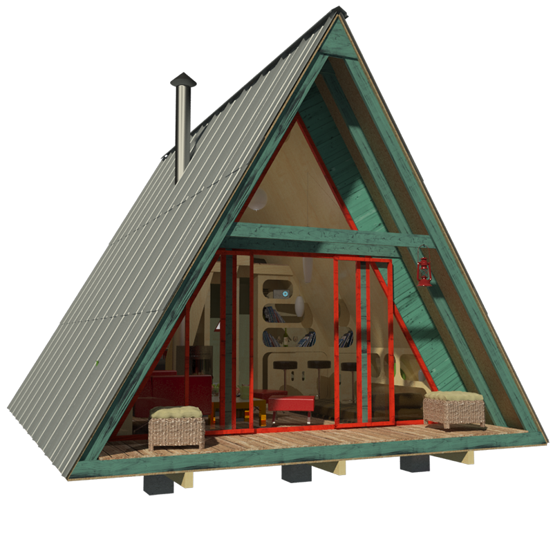 Darling tiny A-frame with my Name—the Alexis! Design by Pin-up Houses—construction plans available and on-sale