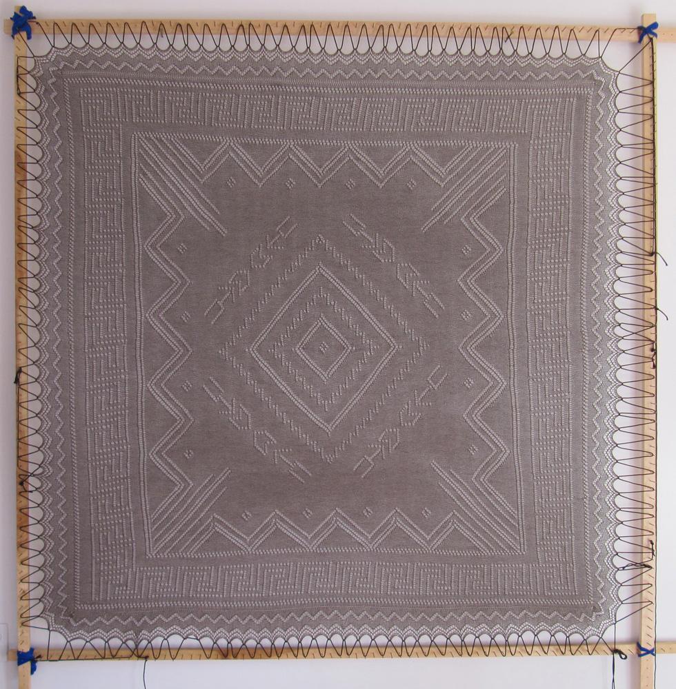 Santa Fe Mountain Trails Shawl. Designed and knit by Mara Bishop Statnekov, Santa Fe, NM