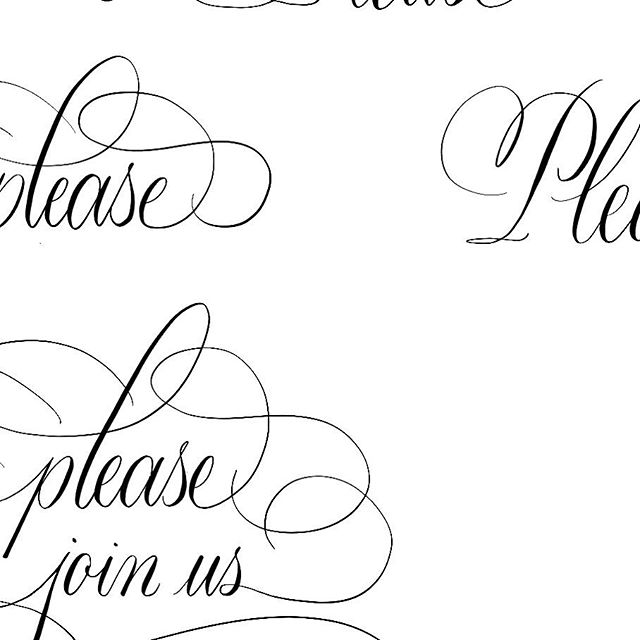 "Spot Calligraphy is a great way to ""fancy up"" an invitation without adding too much clutter. This spot work is destined for a baby shower invite in honor of a special lady 🤰🏻"