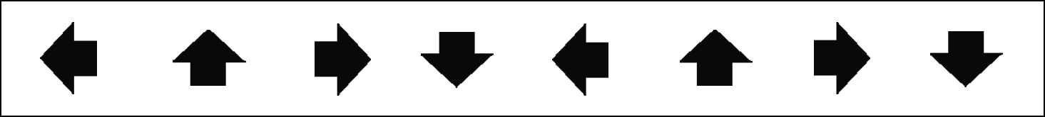 Photo description: 8 evenly distributed black arrows facing in 4 different compass directions