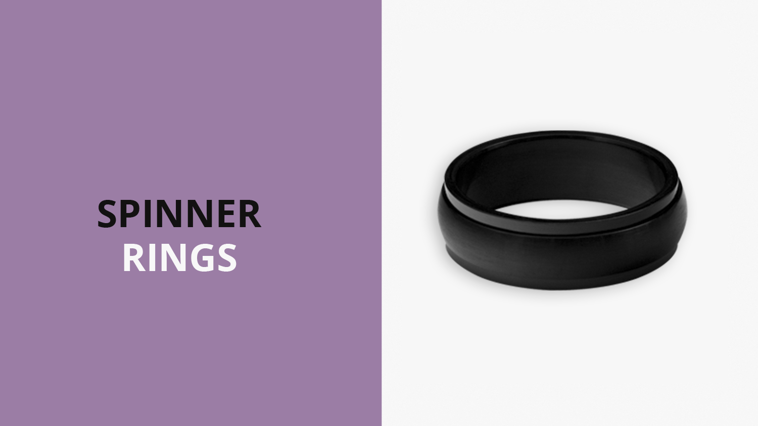A photo of a matte black spinner ring. It says spinner rings.