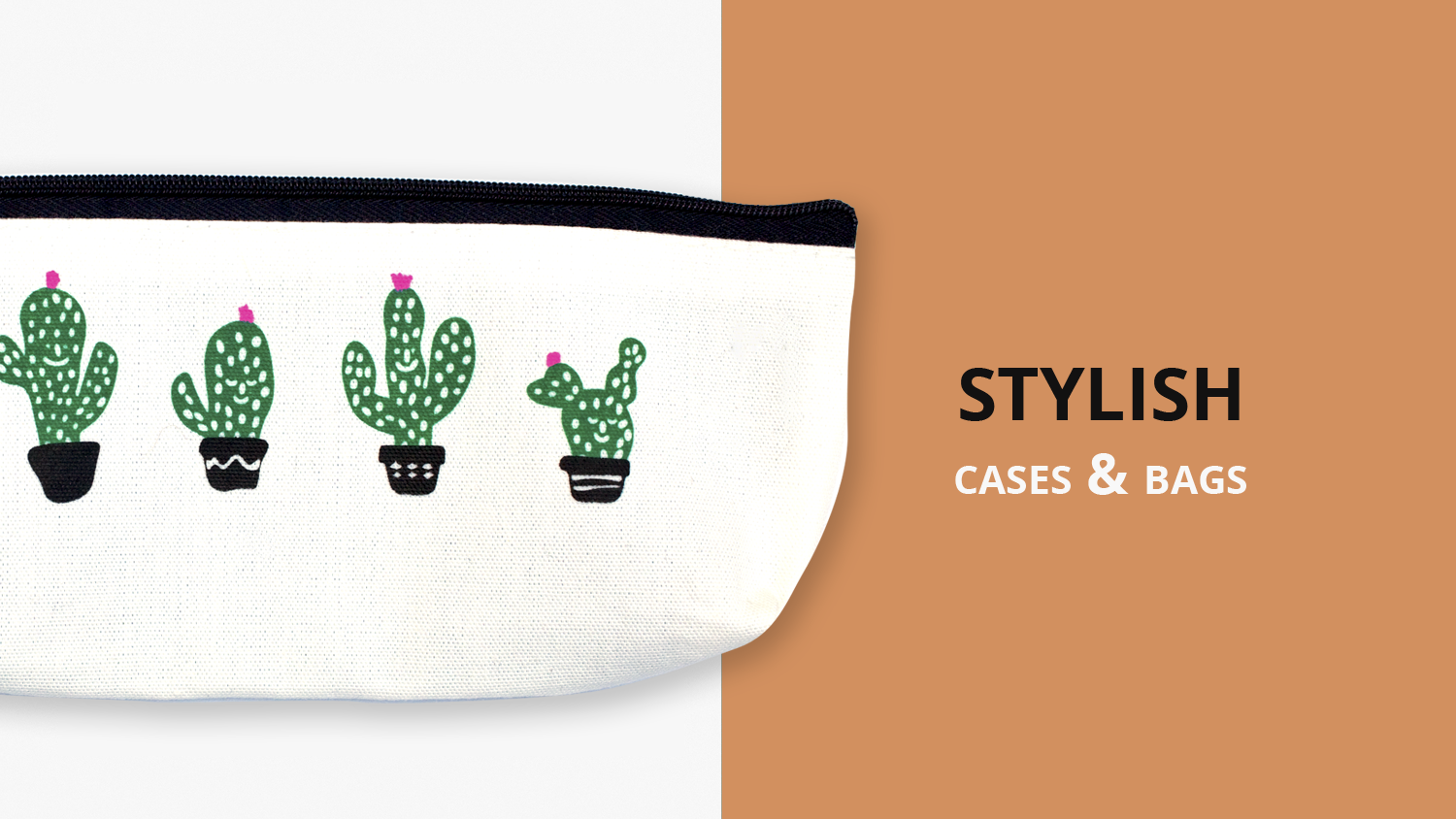 A photo of a white zippered bag with art of potted cacti on it. The image says stylish cases & bags.