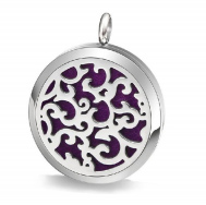 Photo description: A stainless steel lock with a swirling pattern cut into the front side and a purple felt insert inside.