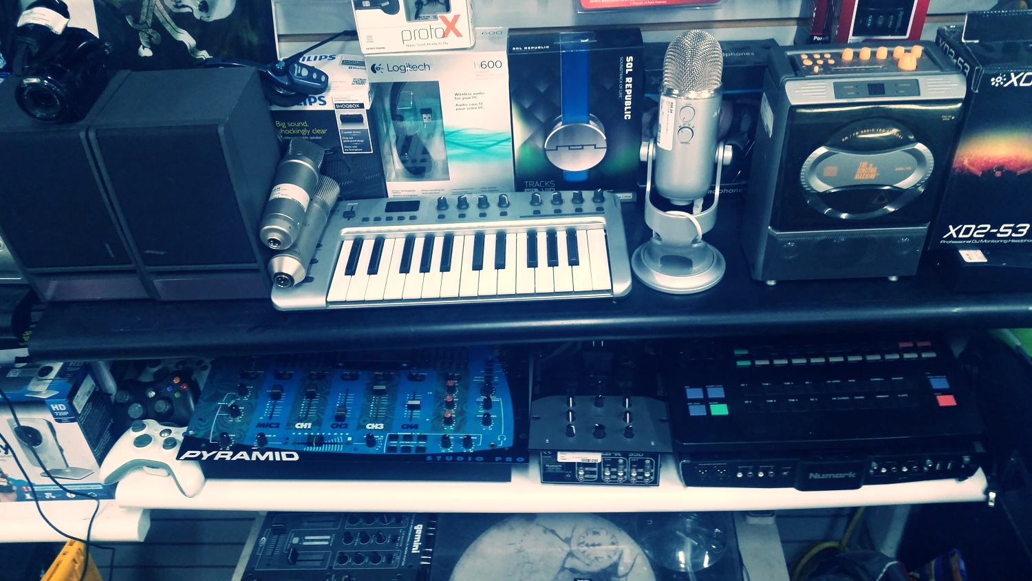 We carry mixers, keyboards, microphones, EQ and compression interfaces,