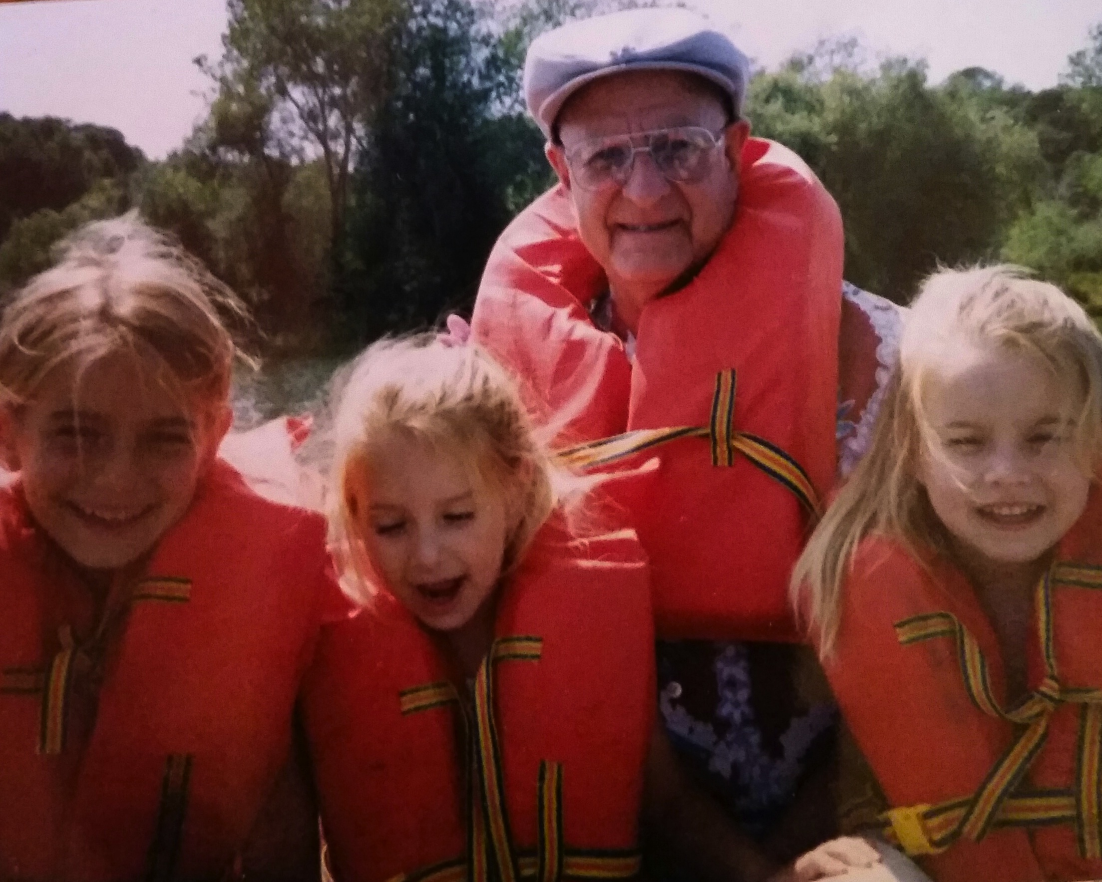 Grandpa with my sisters and I: Califa, Gwen + Ash