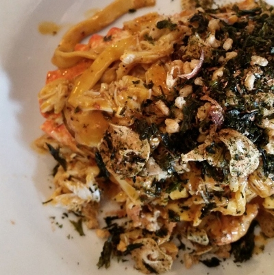 Uni fettucine with Santa Barbara stone crab and furikake