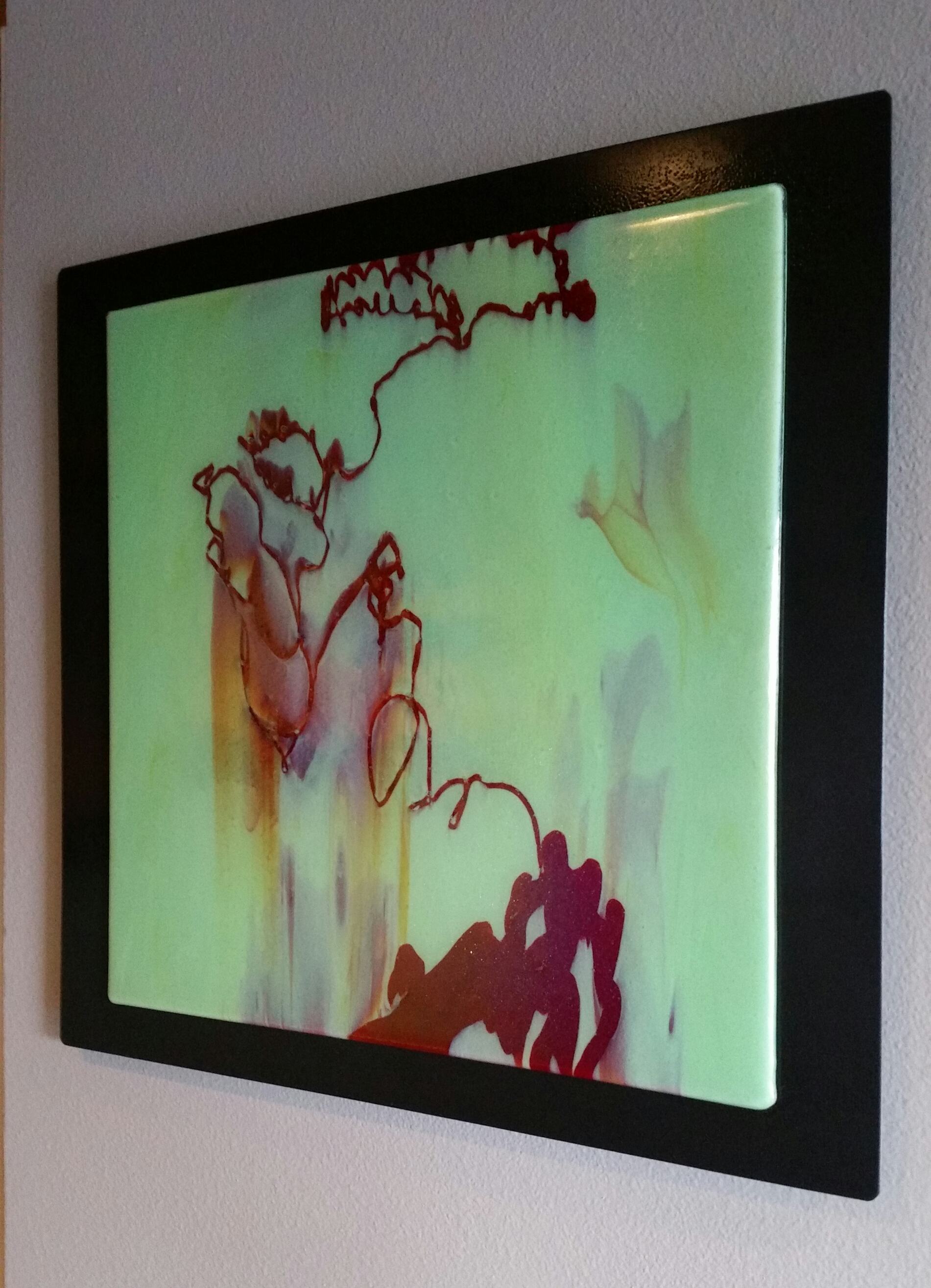 """Garden of Tao    17.25""""x17.25"""" fused glass, mounted on 21""""x20"""" painted aluminum, 1"""" offset"""