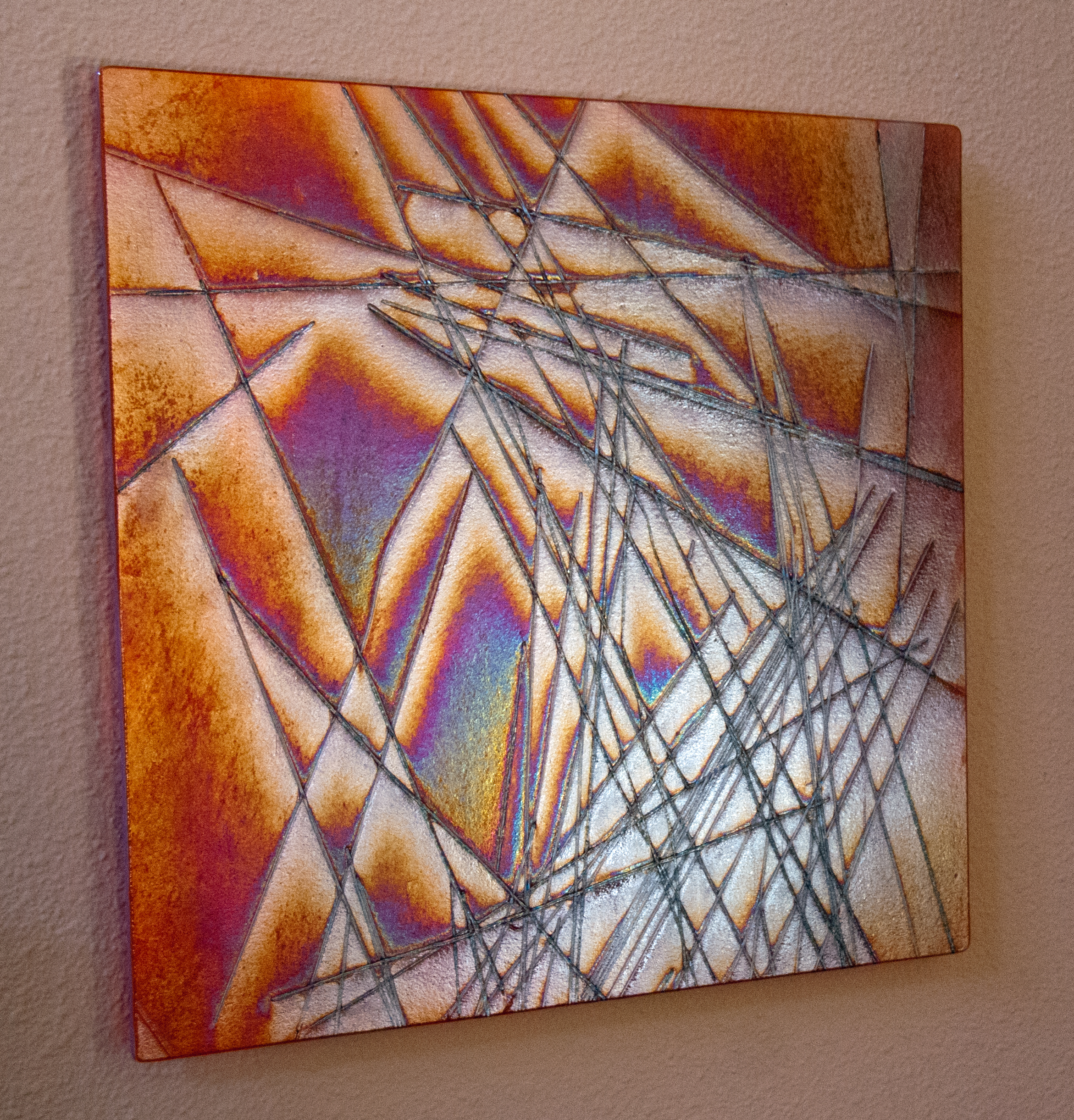 """Geometric Sequence   17""""x17"""", .75 offset iridescent fused glass and stringers"""