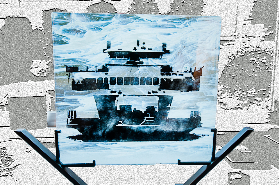 """Mystic Ferry  17""""x16"""" fused glass incorporating photograph of Washington State Ferry Sealth, taken by Chris Fox, Catalyst Photography NW."""