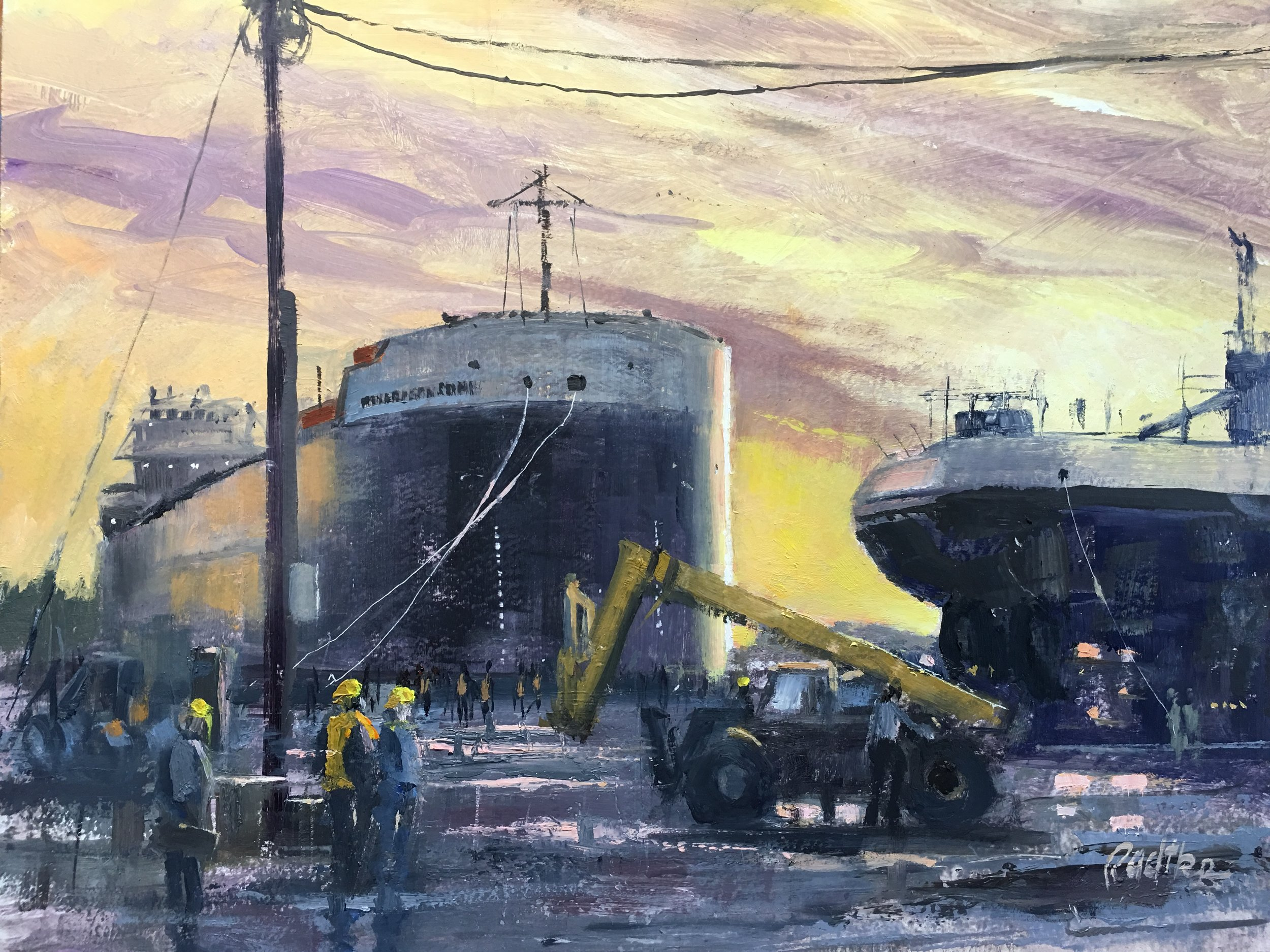 Shipyard Sunset 14 x 18