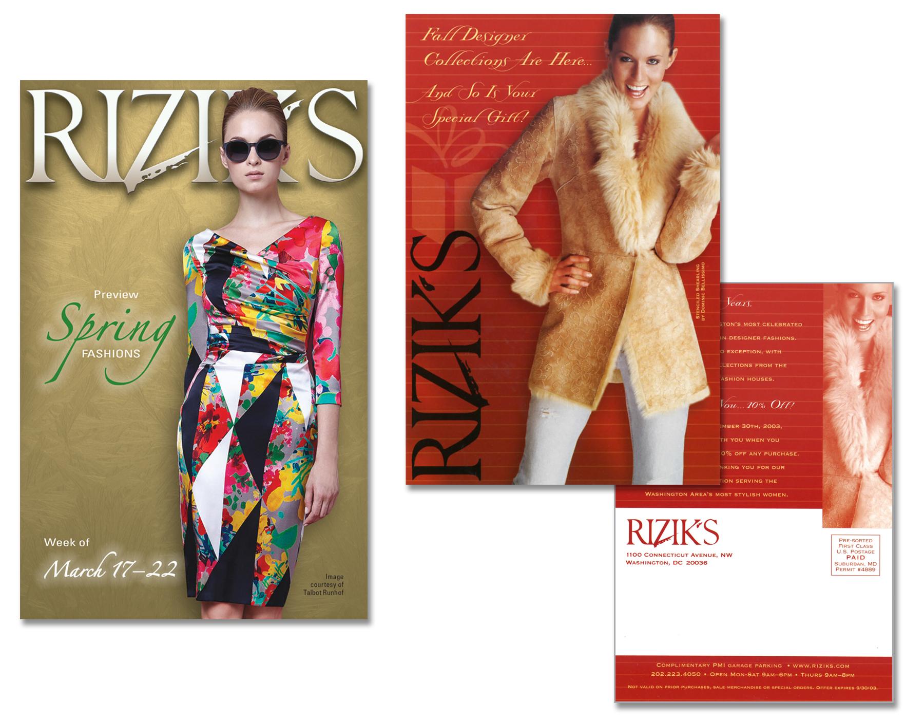 Rizik's, High-End Apparel, Various Postcard Campaigns