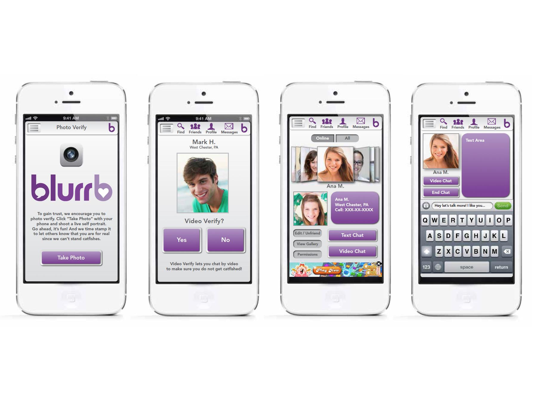 Mobile Application Design – blurb Dating App & Logo