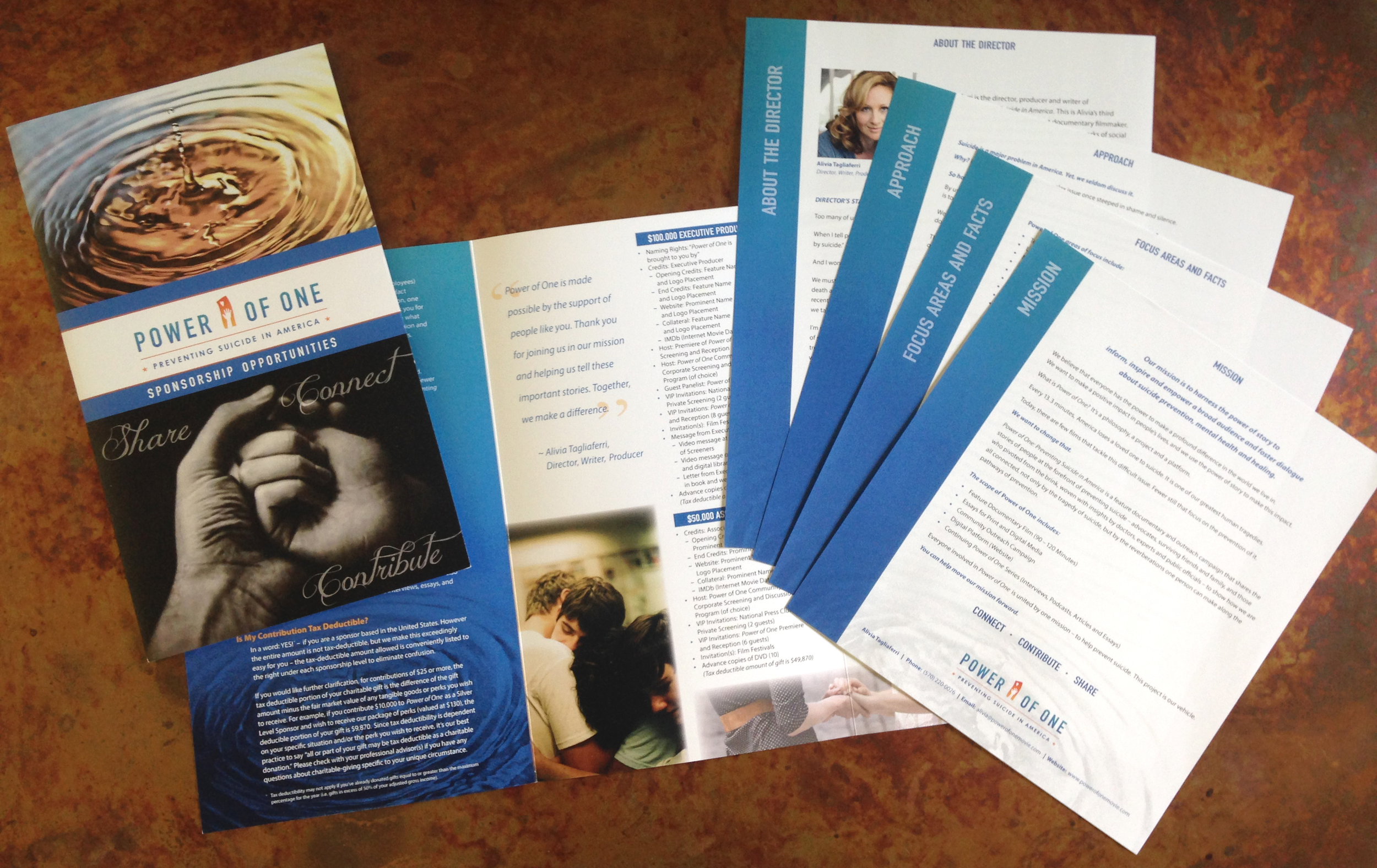 Power of One: Preventing Suicide in America   four-color, tri-fold brochure, and stepped media kit inserts, all printed with Ron Vermette at  Tray, Inc.