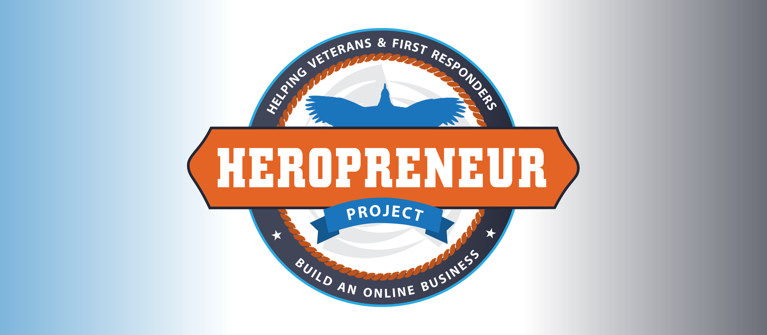 """The final colorized logo showcasing the tagline that we collaborated on:   Helping Veterans & First Responders Build an Online Business  . The logo is meant to look badge-like as well as reminiscent of a medal, borrowing elements from the firefighters logo. I also made sure to focus on the """"hero"""" aspect with the use of a bird in flight, and added a rope accent to suggest """"first responder."""" The chosen colors coordinate with DG's   Second Half Comeback   brand and podcast, which is his umbrella brand."""