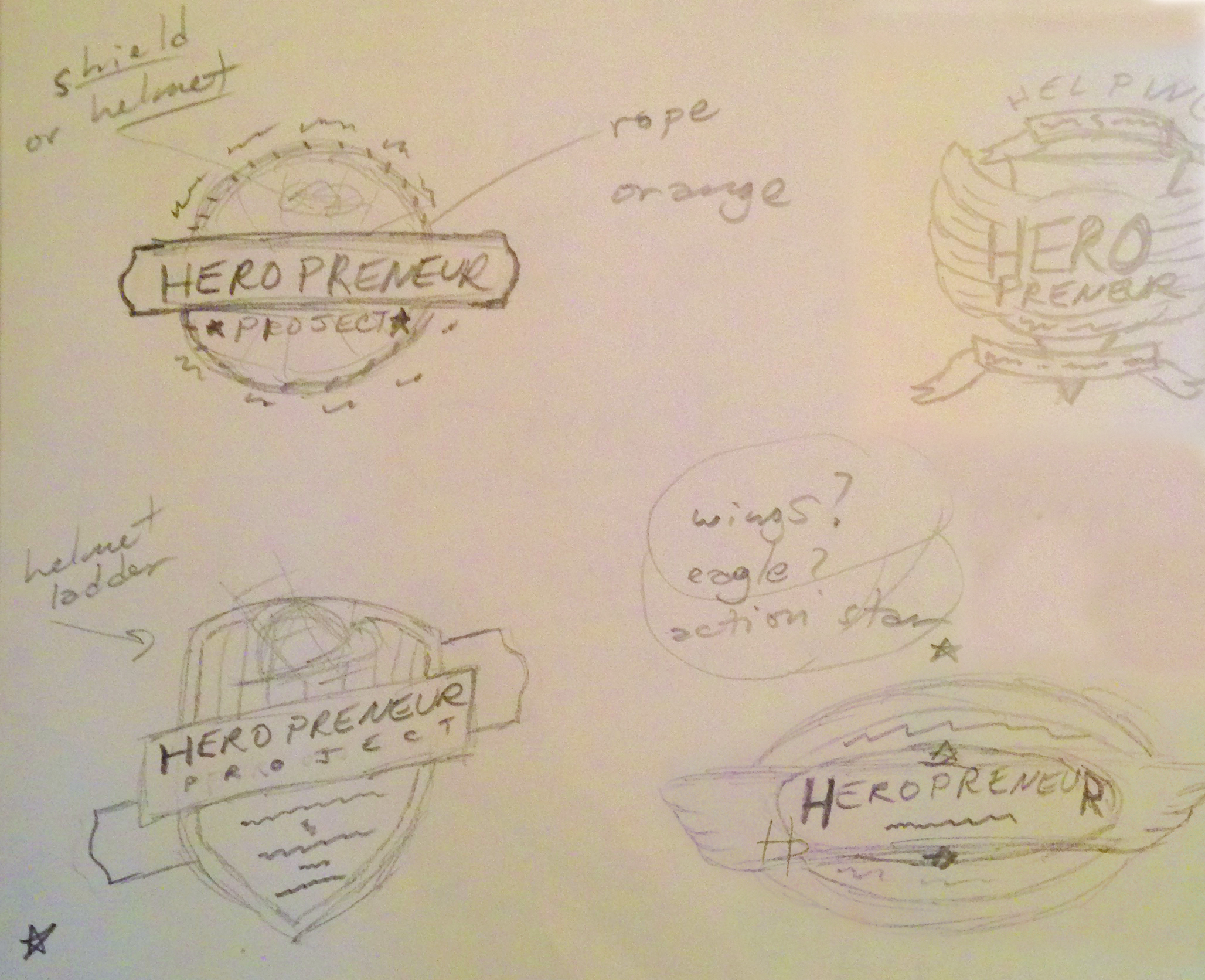 This image is a sneak peek at my sketch pad during the brainstorming and experimental phase of the logo creation. Several of these marks were later taken to the computer to be executed in Adobe Illustrator.