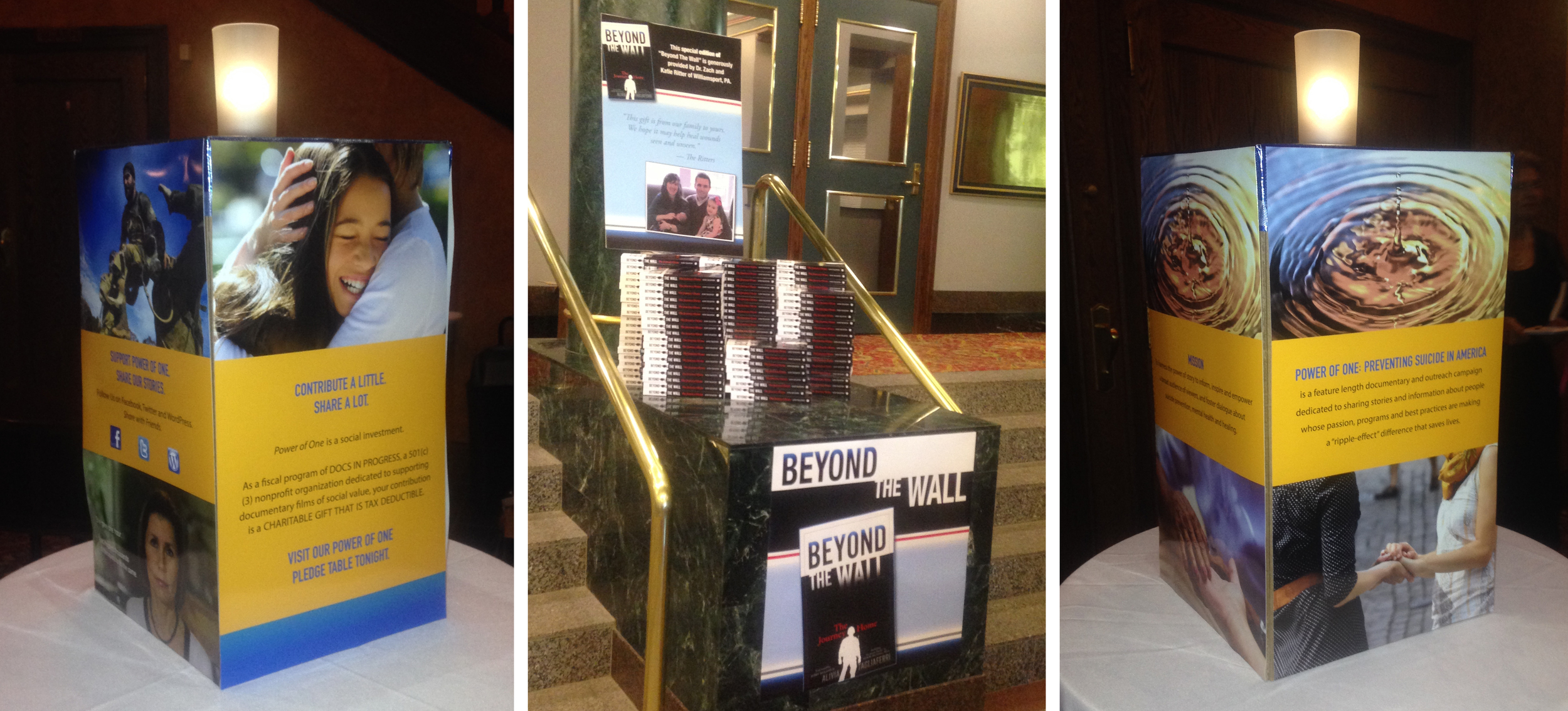 """Alivia and I created """"Story Stations"""" that were displayed in the reception area that helped set the stage for her talk by sharing the facts surrounding suicide rates in America, those at risk, as well as how we can make a difference and where to turn for help. She also donated copies of her book  Beyond The Wall  to attendees."""