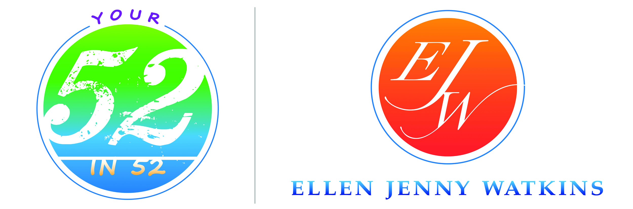 """The """"Your 52 in 52"""" and """"Ellen Jenny Watkins"""" logos that Giant Leaps Creative LLC had the honor to create for Ellen Watkins."""