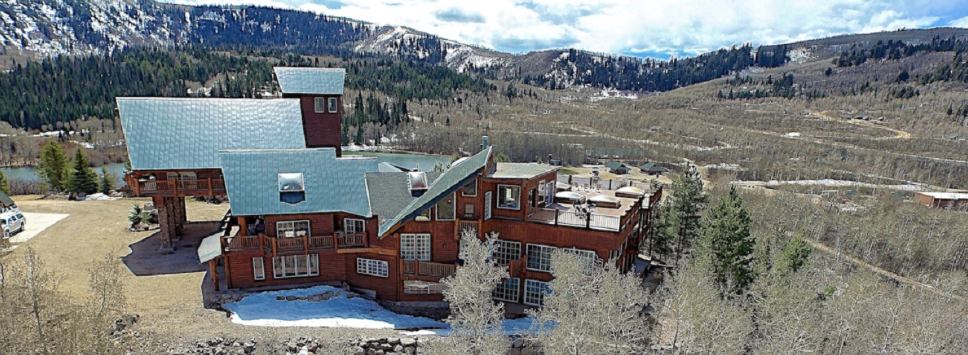 With over 26,000 square feet of living space, Timber Moose is the largest private log cabin in the United States. Timber Moose sits on 12 private acres in the Utah mountains with commanding 360° views, visible from its 9,000 square feet of outdoor decks and balconies.