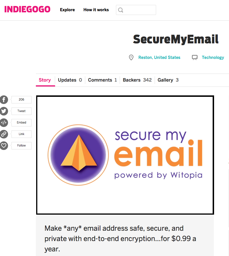 Click above to check out Witopia's Indiegogo campaign for their upcoming product SecureMyEmail.