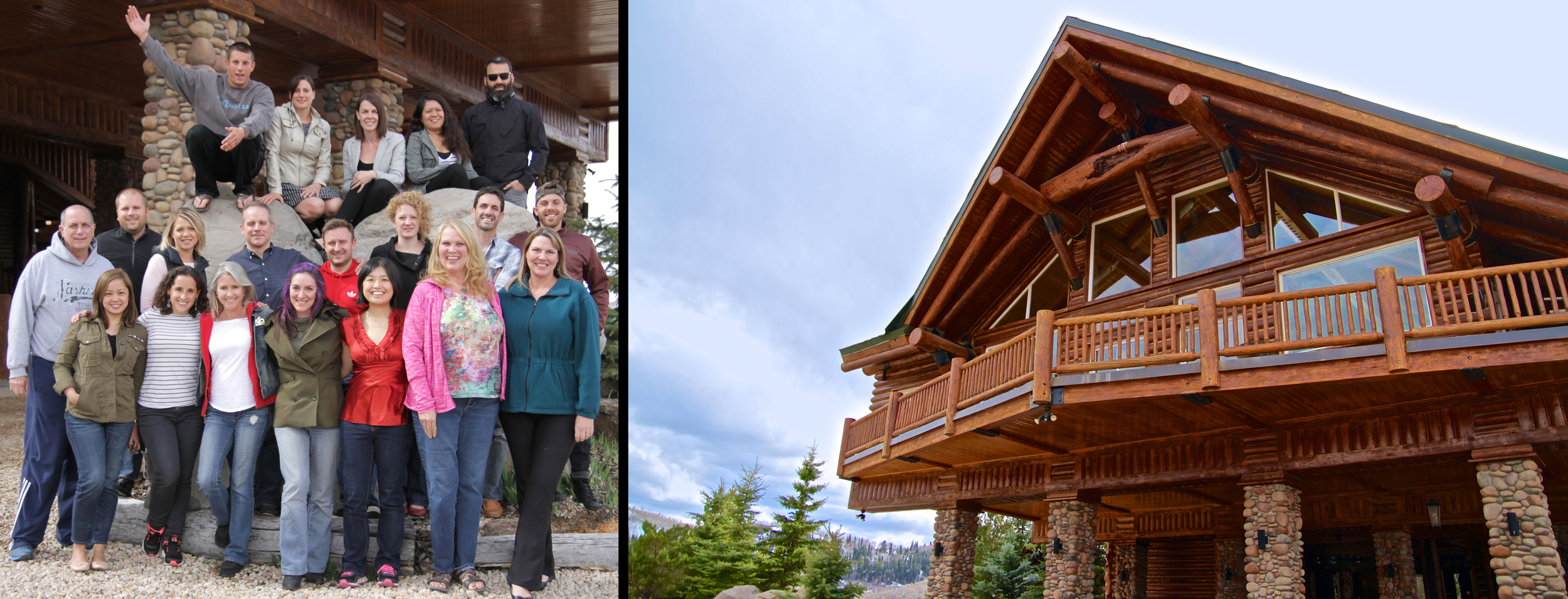 Left:  Group shot of retreat attendees and workshop facilitators.  Right:  Front shot of the Timber Moose Lodge – which is the largest privately-owned log cabin in the nation.