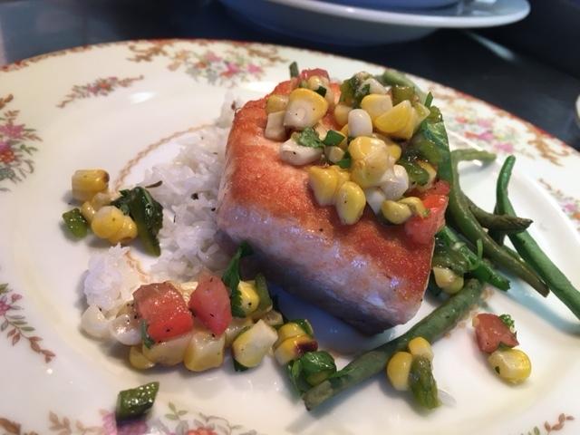 Pan Seared Salmon with Poblano Corn Salsa
