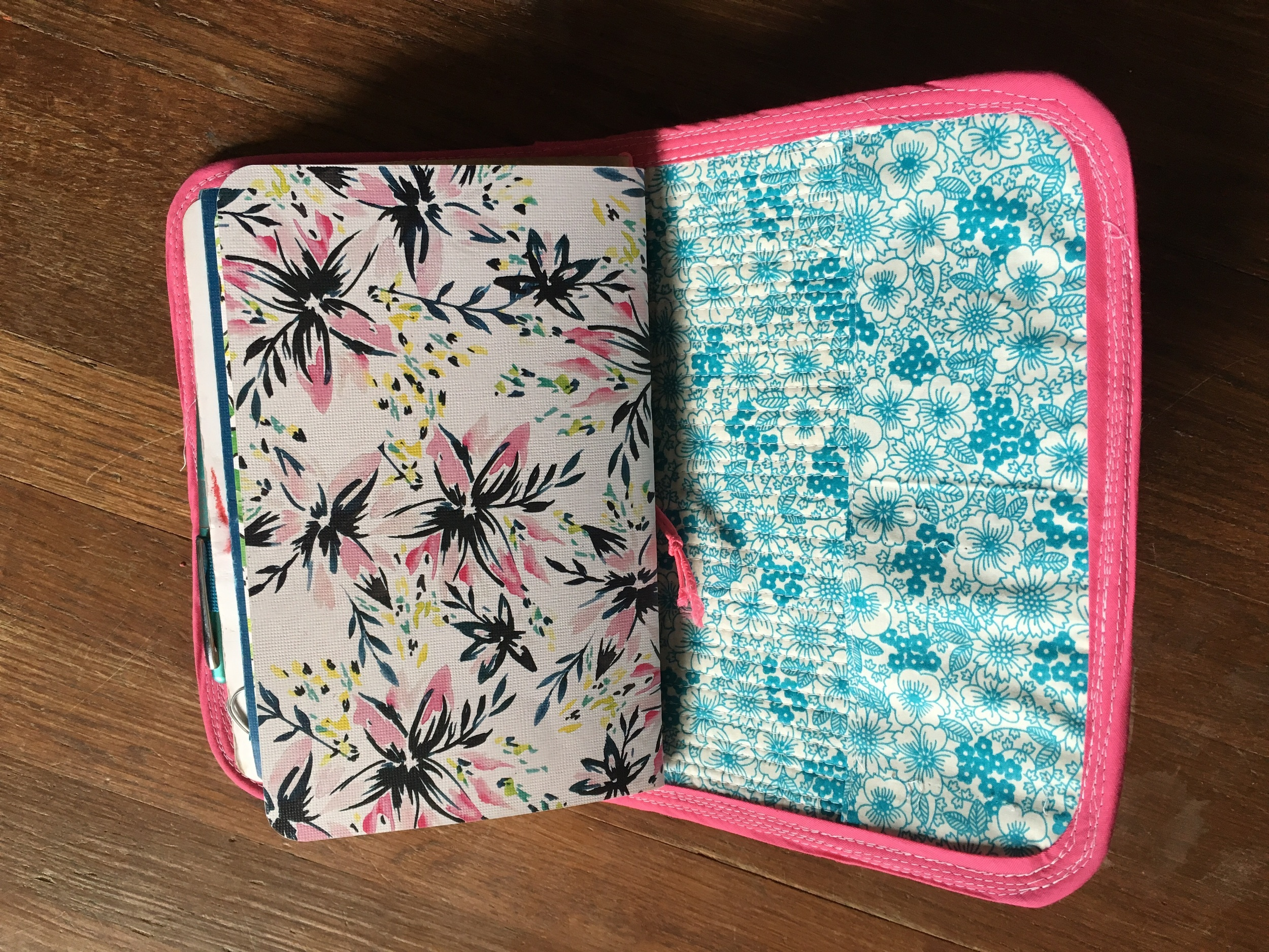 Upside down, but large flap pockets, and pretty May Design books inside. :)