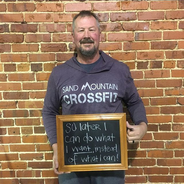 "#whyiCrossFit Jimmy Brooks ""I choose CrossFit so that later I can do what I WANT to do, rather than what I can do. In other terms, I want to beat decrepitude. I don't want to not able to travel and still workout and do things for myself or enjoy vacations and activities because I didn't take care of myself prior in my life."" Jimmy is 53 years of age and began his CrossFit journey in October of 2016. He is a husband, father, and grandfather and also served six years in the United States Navy. He works full time as an area service tech for a vaccine company. Part of his job includes traveling at least once a month, and when he does travel he makes time for his fitness then, too! No matter where he may be, once he is off the clock he is finding a CrossFit box in the area to drop in. Jimmy is unsure how many places he has dropped in, but it is quiet a few! ""I have noticed a lot of other places I drop in have several members that are men my age. You just don't see that in our area as much and if I had to tell other men my age any advice it would be to not be afraid to try this. There is a large group of men my age that do CrossFit, just not here, if they would try they would see why we love it so much. And If we can do it so can they."" Most days Jimmy works out at 4:30pm which tends to be guys who are in fact, half of Jimmy's age...but that doesn't slow him down one bit! Over the last year and two months, Jimmy came to us with relatively bad knees, and a mediocre squat. Now, he has lost 25 pounds, worked through his weaknesses and strengthened his knees, has a great squat with major improvement of his range of motion and mobility. He has accomplished the skill of double unders, (in which you jump rope and the rope passes under your feet twice in one jump), and he has a 410 lb. deadlift max. He can bust out pull-ups with the best of em' and he is currently working towards achieving a bar muscle up!  #CrossFit  #SandMountainCrossFit #MastersCrossFitAthletes"