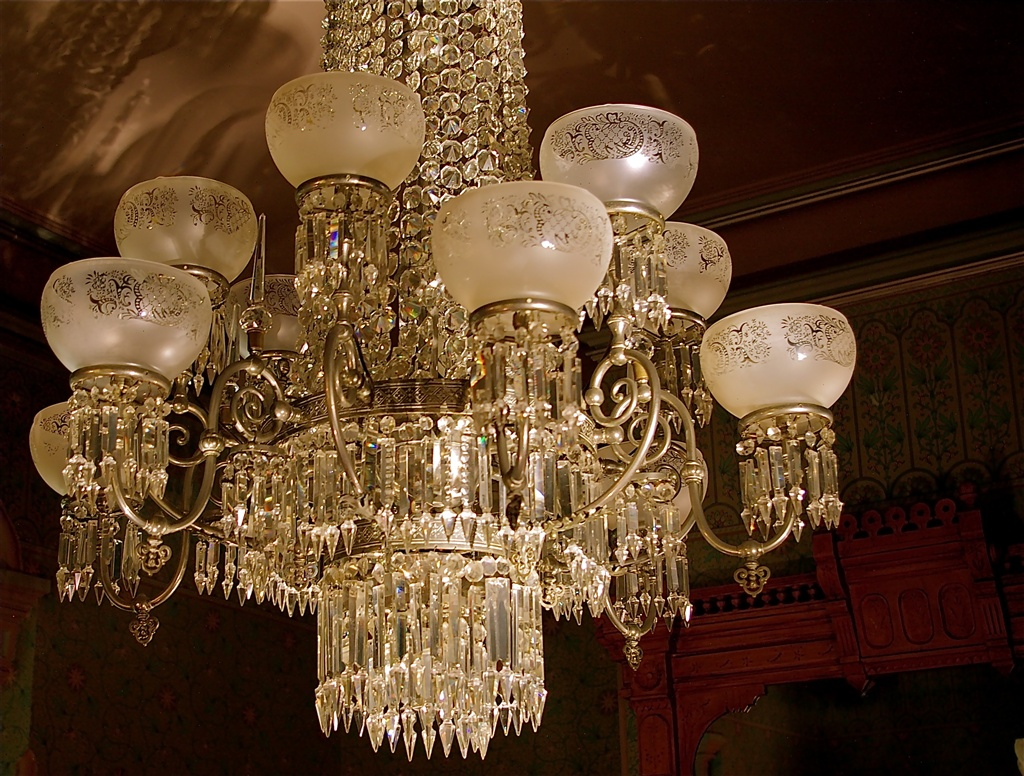 The stunning pewter and crystal chandelier that graces the breakfast room at the Kalamazoo House.